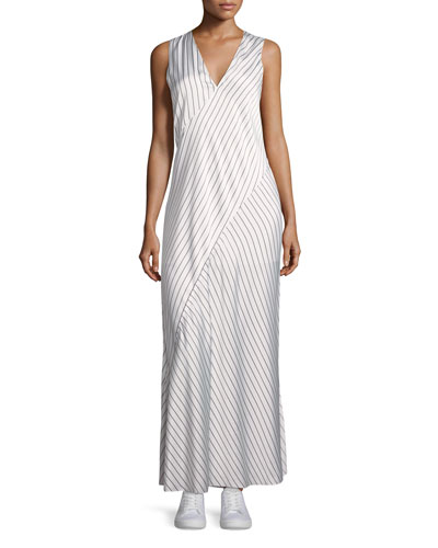 Sleeveless V-Neck Crushed Satin Striped Slip Dress