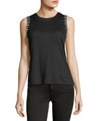 Alanis Embellished Crewneck Sleeveless Linen Top