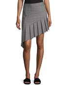 Birdseye Wool Asymmetric Pleat Skirt