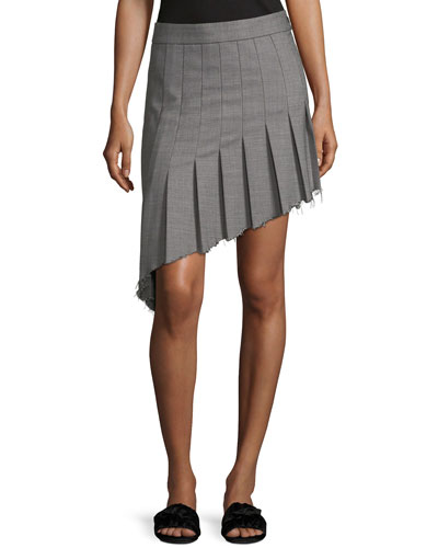 Birdseye Wool Asymmetric Pleat Skirt