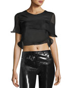 Ruffled Sheer Silk Cropped Top