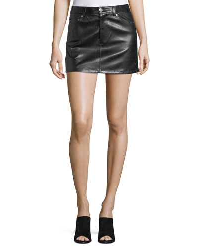 Stretch-Leather 5-Pocket Mini Skirt