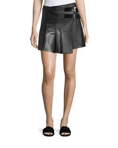 Pleated Leather Buckle Mini Skirt