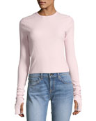 Ribbed Crewneck Long-Sleeve Top