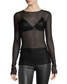 Drop-Needle Long-Sleeve Sheer Top
