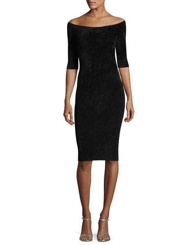 Off-the-Shoulder Seamless Fitted Rib-Knit Dress