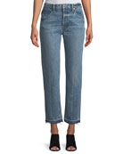 Light-Wash Crease Straight-Leg Jeans