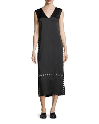Leigh Grommet-Trim V-Neck Dress