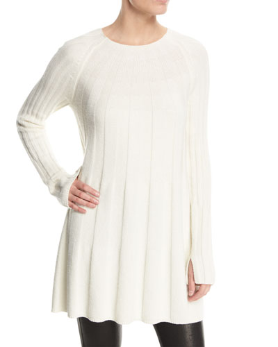 Elizabeth and James Gerri Crewneck Ribbed Swing Sweater Dress