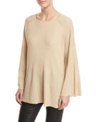 Marsali Crewneck Bell-Sleeve Oversized Tunic Top