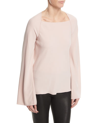Danel Twist-Back Long-Sleeve Crepe Blouse