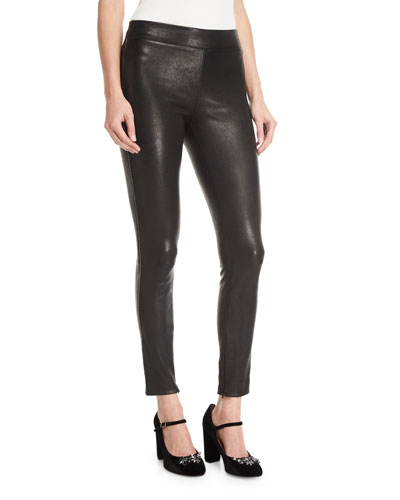 Pull-One Stretch-Leather Leggings