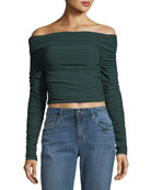Terence Off-the-Shoulder Long-Sleeve Ruched Jersey Top