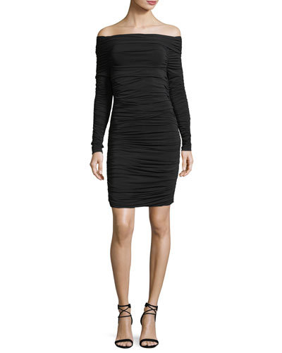 Blaise Off-the-Shoulder Long-Sleeve Ruched Dress