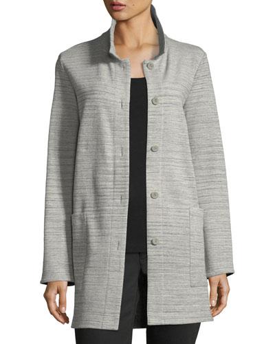 Chevron-Knit Long-Sleeve Jacket, Petite