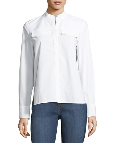 Alisson Poplin Long-Sleeve Blouse
