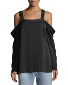 Yera Cold-Shoulder Embellished-Strap Blouse
