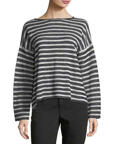 Terry Striped Button Top, Petite