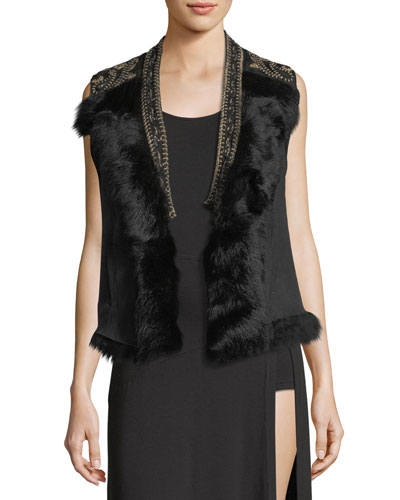 Mansion Shearling Vest with Fur Collar