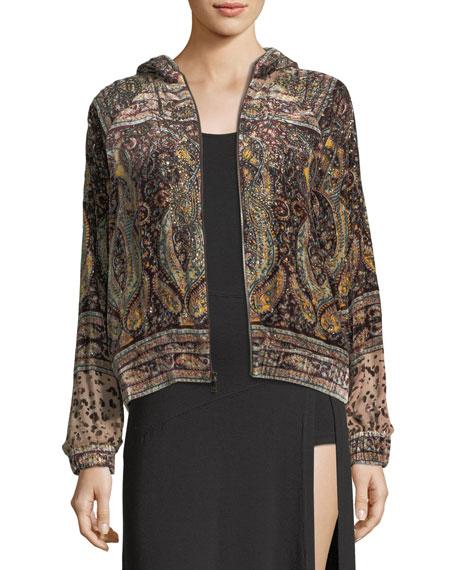 Haute Hippie Sahara Hooded Zip-front Beaded Printed Bomber Jacket