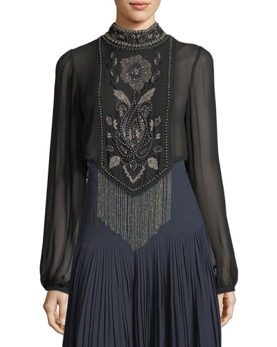 Through The Looking Glass Beaded-Fringe Top