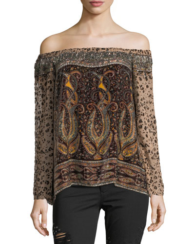 Sahara Off-the-Shoulder Multi-Printed Beaded Top