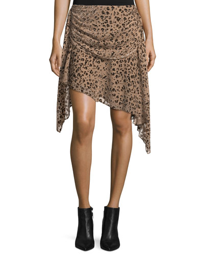 Edith Leopard-Devoré Draped Skirt