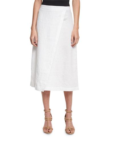 Organic Linen A-Line Wrap Skirt, White