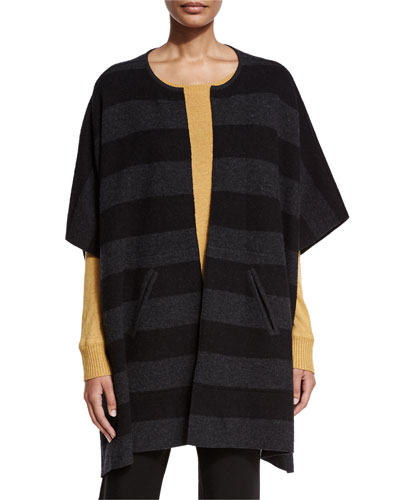 Reversible Felted Striped Wool Poncho