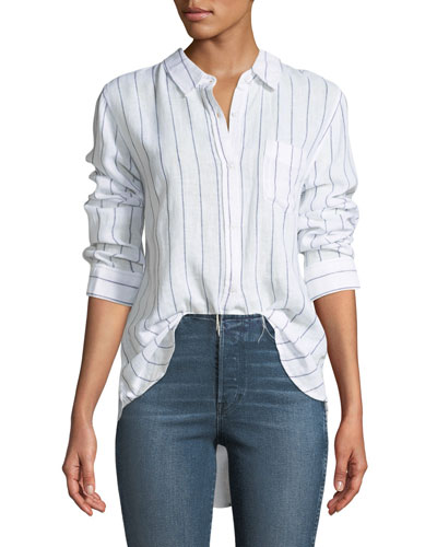 Charli Striped Long-Sleeve Shirt, Bluebell/White Stripe