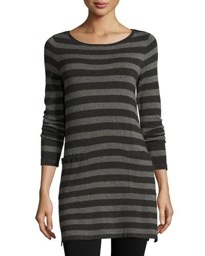 Long-Sleeve Striped Tunic W/ Pockets, Charcoal