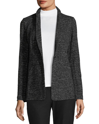 Speckle Cotton-Blend Blazer, Petite