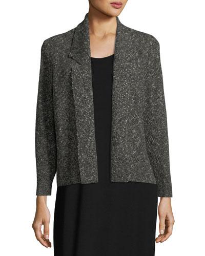 Textured Organic-Linen Boxy Jacket, Plus Size