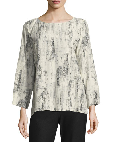 Impression-Print Long-Sleeve Top, Petite