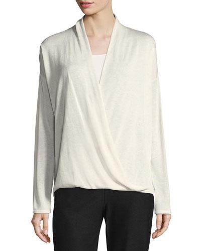 Sleek Faux-Wrap Top, Plus Size