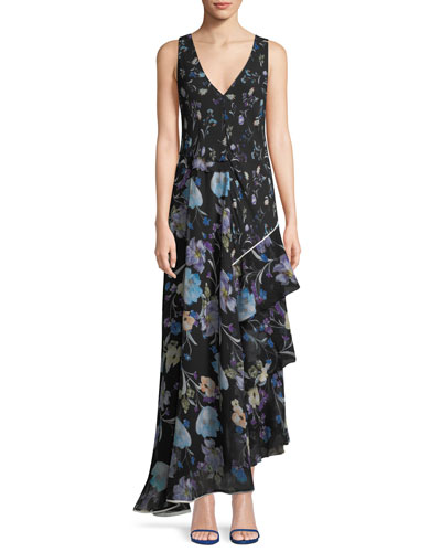 Sleeveless V-Neck Floral-Print Silk Maxi Dress
