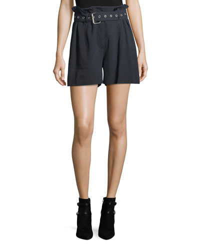 High-Waist Belted Pinstriped Utility Shorts