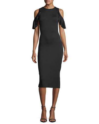 Cosmos Open-Shoulder Fitted Dress