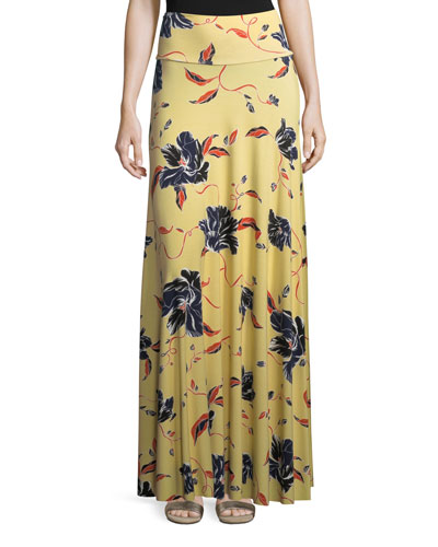 Tulip-Print Long Full Convertible Skirt