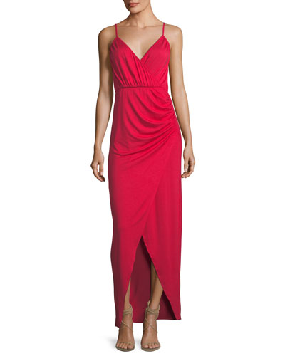 Britta Spaghetti-Strap Surplice-Neck Cutaway Maxi Dress