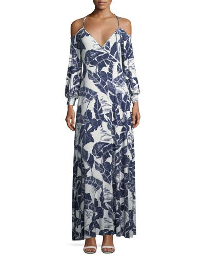 Dominic Open-Shoulder Palm-Print Dress