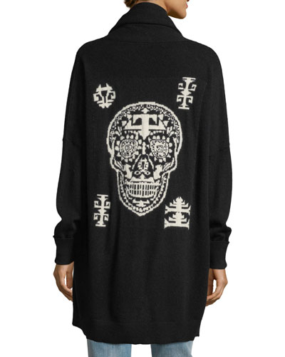 Scarlett Open-Front Skull Intarsia Cashmere-Blend Cardigan