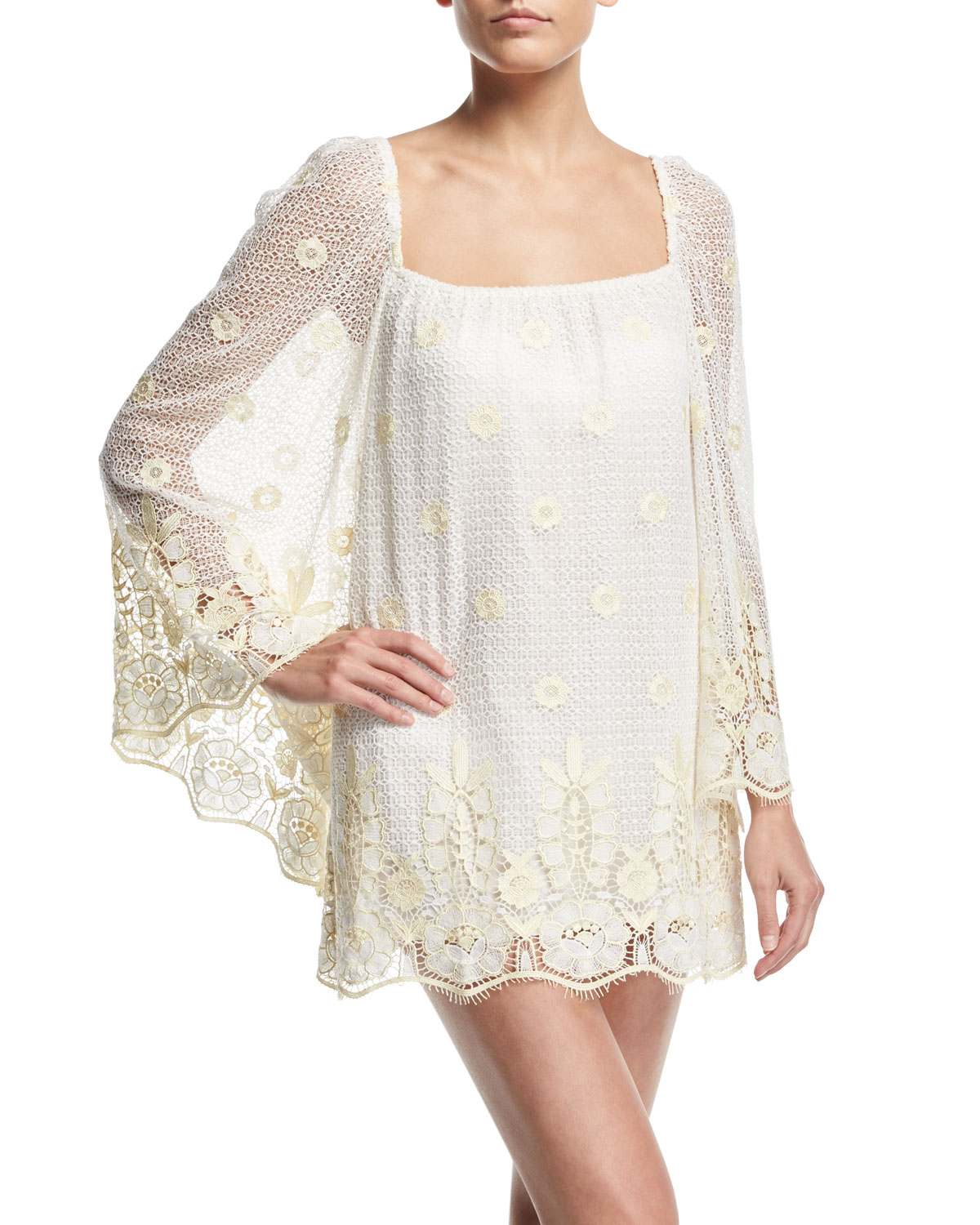 Miguelina Dresses NICOLETTE SHEER LACE COVERUP DRESS