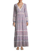 Kristen Deep-V Long-Sleeve Paisley-Print Maxi Dress