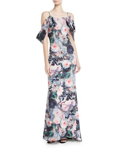 Tie-Sleeve Floral-Print Long Gown