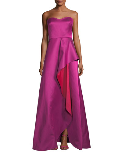 Strapless Sweetheart Contrast Ruffle Gown
