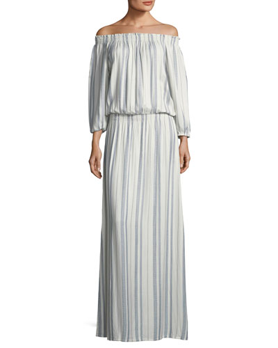 Amber Off-the-Shoulder Striped Maxi Dress