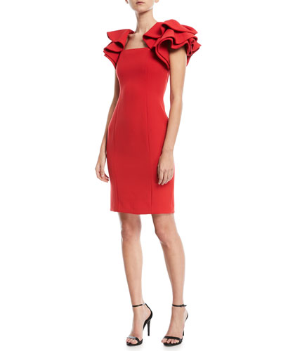 Ruffle-Sleeve Cocktail Dress