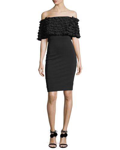 Tiered Petal-Popover Short-Sleeve Sheath Dress