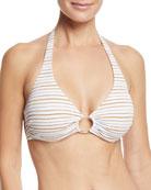 Brussels Halter Metallic-Striped Luxe Swim Top
